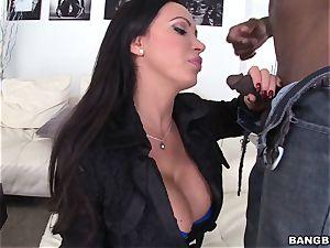 Nikki Benz smoking and fellating ebony man meat