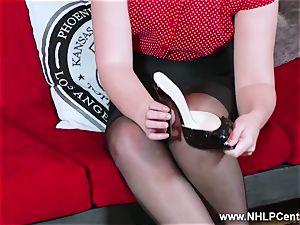 sizzling babe peels off ebony underwear wanks in nylon garter