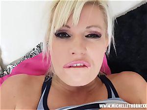 platinum-blonde tart Michelle Thorne stranger tear up after jogging