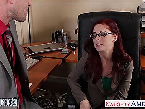 red-haired ultra-cutie in glasses Penny Pax drill in the office