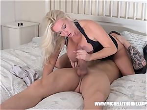 huge-boobed platinum-blonde has moist puss ate blowing immense trouser snake