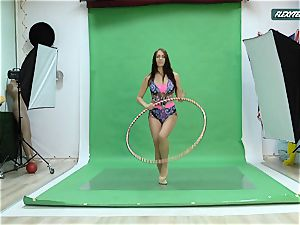 huge boobs Nicole on the green screen opening up