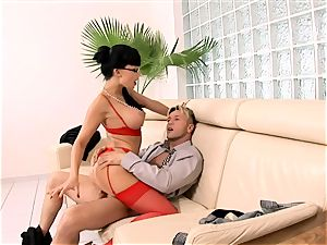 horny secretary banged on a couch in lingerie
