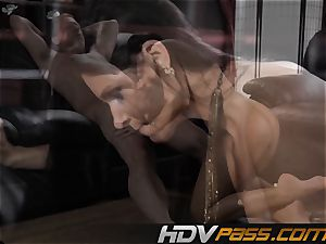dark-haired honey India Summer pokes with enthusiasm in livingroom