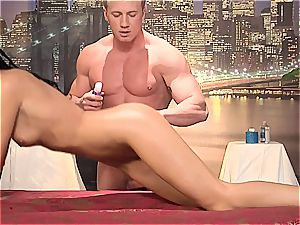 Maybe it's the lubricant that made India Summer so raw during the massage