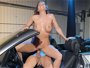 Abigail Mac spitting on a large boner