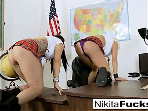Classroom teasing leads to lezzie romping