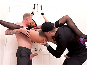 rock-hard fetish porno with strapped pornographic star Rachel Starr and two mischievous boys