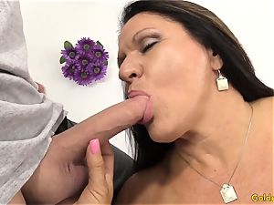 senior dark haired Takes a weenie in Her gullet and twat