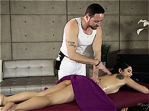 petite Gina Valentina gets lubed up and touched