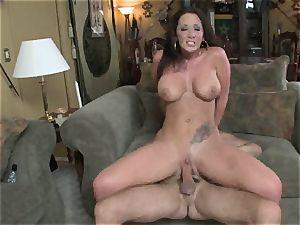 Jayden James bounces her super-steamy vulva on this stiff fuckpole