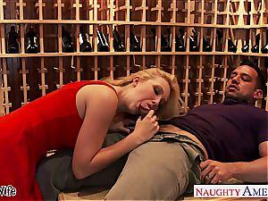 Samantha boinking in the champagne cellar