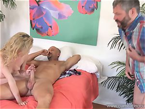 Angel Smalls Has Her husband gobble cum Off Her