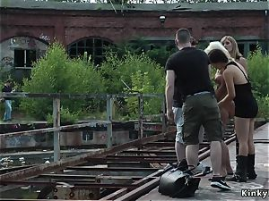 blond buttfuck fisted and flagellated outdoor