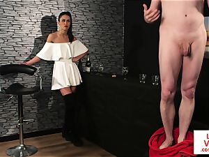 CFNM female dominance trains jerkoff at the bar