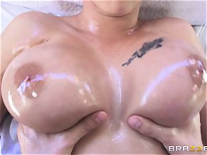 marvelous black-haired Peta Jensen bouncing on a fat pipe