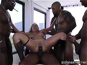 Cherie DeVille gets group-fucked by gigantic ebony weenies