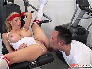 scorching milf Alexis Fawx deep throating hard-on at the gym