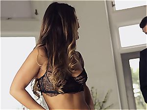 mind-blowing Eva Lovia is teaching her boyfriend some manners before the soiree