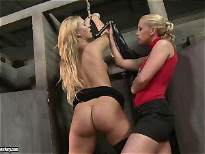Kathia Nobili spanking a super hot honey in public rest room