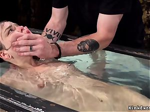 steaming hairy cockslut takes water torment
