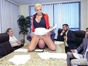 rigorous busty manager Nina Elle exploits its employees during a date