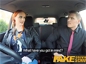 faux Driving college Examiner blasts jizm all over muff