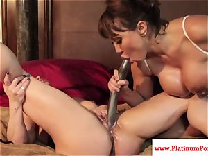 Ava Devine and Brandi May play with their girly-girl playthings