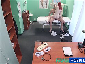 FakeHospital adorable red-haired rides doctor for cash