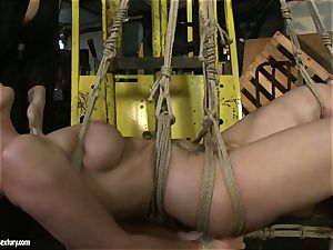 Kathia Nobili and Mandy Bright bod trussing with strap