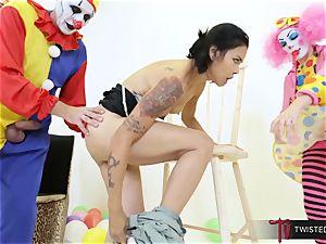 Dana Vespoli poked by creepy enormous bone clowns